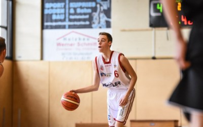 Youngster Paul Guck (weißes Trikot, Regnitztal Baskets) - Copyright Brose Bamberg Youngsters – Lina Ahlf